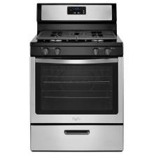 "Whirlpool 30"" 5.1CF Stainless Steel Freestanding Gas Range with Under-Oven Broiler"