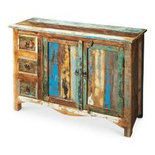 Crafted from assorted recycled wood solids and hand painted with a sense of childlike Crayola abandon, this compelling Sideboard serves up the exuberant cacophony of a soaring spirit. The piece boasts abundant storage behind two doors and inside three drawers, each opened by complementary black iron finished hardware.