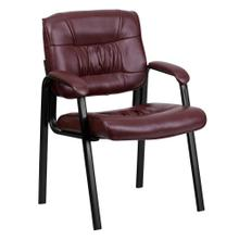 Burgundy Leather Executive Side Reception Chair with Black Metal Frame