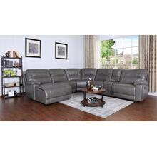 Barrington Left Facing Chaise Leather Gel Sectional in Gray