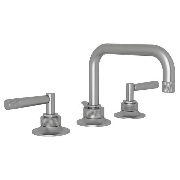 Pewter Graceline U-Spout Widespread Lavatory Faucet with Metal Lever Graceline Series Only