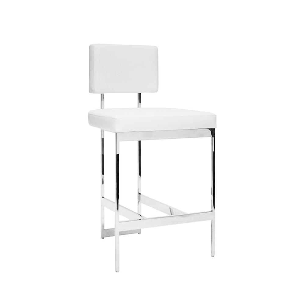 The Clean Lines and Simple Geometry of Our Baylor Counter Height Stool Are Inspired By Early European Modernists. A Versatile White Vinyl Cushion Pairs Elegantly With the Nickel Finish Base. Back Handle Incorporated Into the Metal Frame for Easy Portability.