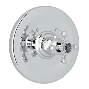 Thermostatic Trim Plate without Volume Control - Polished Chrome with Crystal Cross Handle