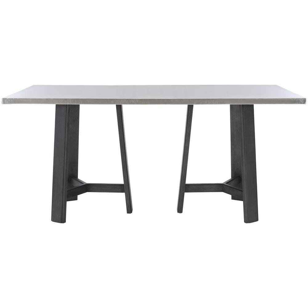 See Details - Harding Pub Table in Midnight Black Finishes Available Cocoa (CN1) Portobello (PN1) Smoke (SN1) Description Rectangular table top wrapped in stainless steel Three legged non-wire-brushed wood base Adjustable glides Note: Due to size of table top, must be used with two (2) 305-954N bases Options Note: Optional glass top available, but recommeneded to prevent scratching of metal top. Order with 305-223G. To order in the available non-wire brushed finishes, specify the 3-digit finish number. Also available in wire brushed finishes - Glacier White, Midnight Black and Weathered Greige. See 305-223 & 305-954W . Specifications subject to change without notice. Due to differences in screen resolutions, the fabrics and finishes displayed may vary from the actual fabric and finish colors. ALL RELATED PRODUCTS