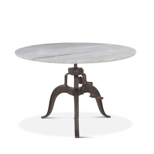 """Pittsburg 48"""" Adjustable Round Table White Marble"""