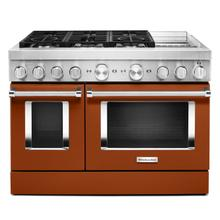 See Details - KitchenAid® 48'' Smart Commercial-Style Dual Fuel Range with Griddle Scorched Orange