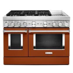 KitchenAid® 48'' Smart Commercial-Style Dual Fuel Range with Griddle Scorched Orange