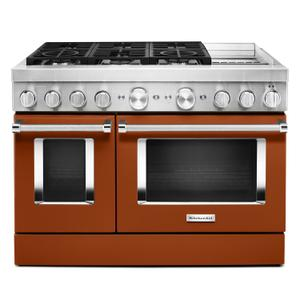 KitchenAid® 48'' Smart Commercial-Style Dual Fuel Range with Griddle Scorched Orange Product Image