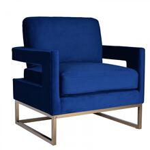 View Product - Modrest Edna Modern Blue Velvet & Gold Accent Chair