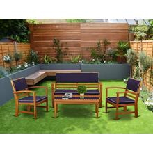 This 4pc set offers one bench and 2 arm chairs plus one small table