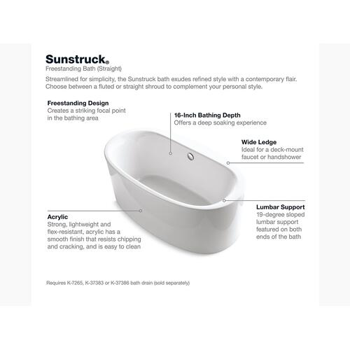 "White 66"" X 36"" Oval Freestanding Bath With Straight Shroud and Center Drain"