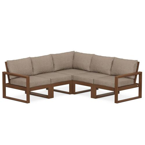 Polywood Furnishings - EDGE 5-Piece Modular Deep Seating Set in Teak / Spiced Burlap