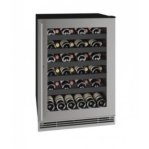 "U-Line - Hwc124 24"" Wine Refrigerator With Stainless Frame Finish (115v/60 Hz Volts /60 Hz Hz)"