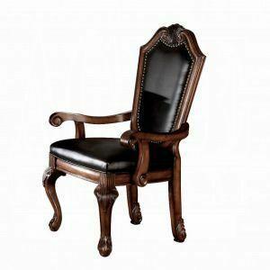 ACME Chateau De Ville Arm Chair (Set-2) - 10039 - Black PU & Cherry