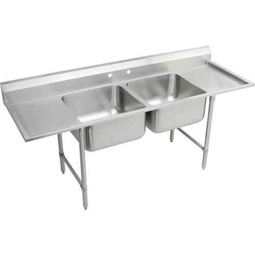 "Elkay Rigidbilt Stainless Steel 89-1/4"" x 29-3/4"" x 12-3/4"" Floor Mount, Double Compartment Scullery Sink Drainboard"