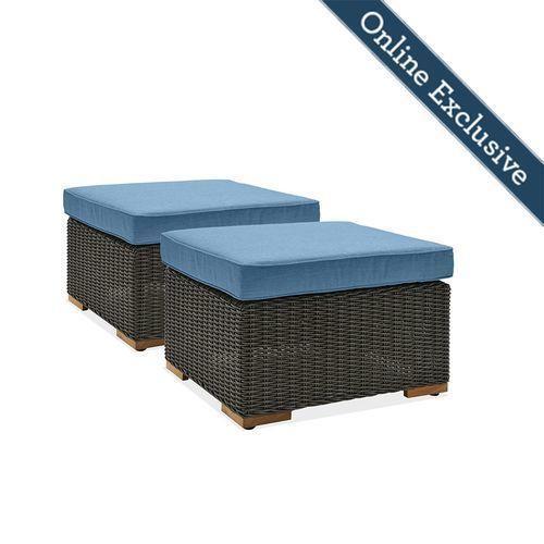New Boston Outdoor Patio Ottomans w/ Blue Cushion