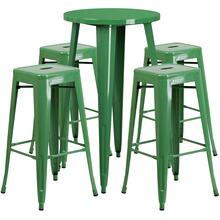 24'' Round Green Metal Indoor-Outdoor Bar Table Set with 4 Square Seat Backless Stools
