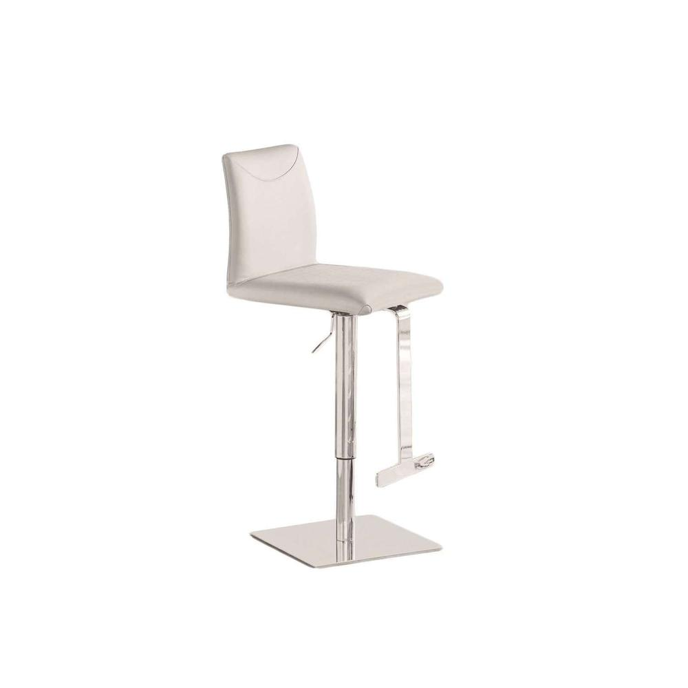The Tito Adjustable Bar Stool In White Leather With Chrome Plated Base