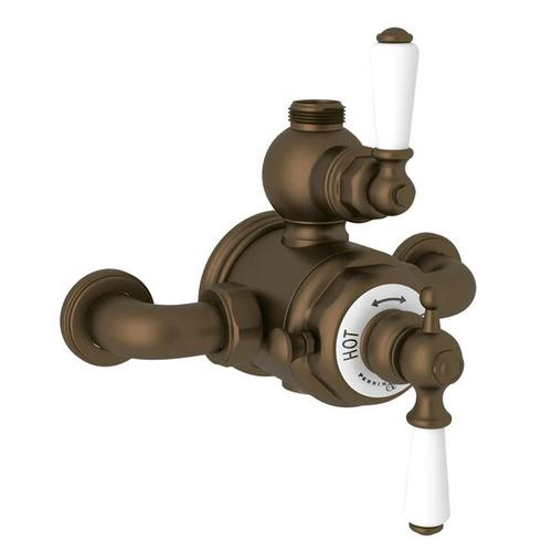Edwardian Exposed Thermostatic Valve with Volume and Temperature Control - English Bronze with Metal Lever Handle