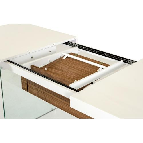 VIG Furniture - Modrest Sven Contemporary White & Walnut Floating Extendable Dining Table