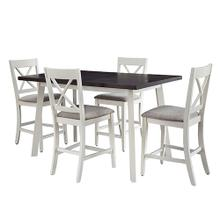 See Details - Counter Table and 4 Chairs- 5/CtN - Gray/Alabaster Finish