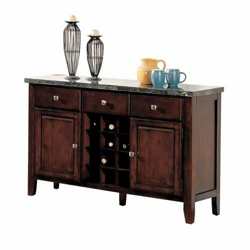 ACME Danville Server - 07057 - Black Marble & Walnut