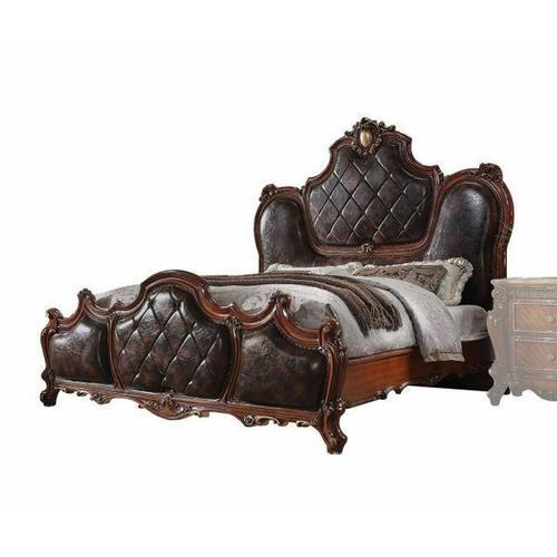 ACME Picardy Eastern King Bed - 28237EK - Traditional, Vintage - PU, Wood (Aspen/Poplar), MDF, Poly-Resin - PU and Cherry Oak
