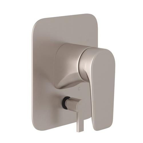 Satin Nickel Perrin & Rowe Hoxton Pressure Balance Trim With Diverter with Hoxton Metal Lever
