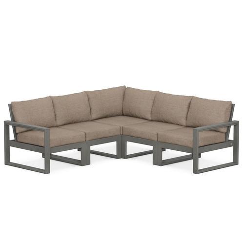 Polywood Furnishings - EDGE 5-Piece Modular Deep Seating Set in Slate Grey / Spiced Burlap