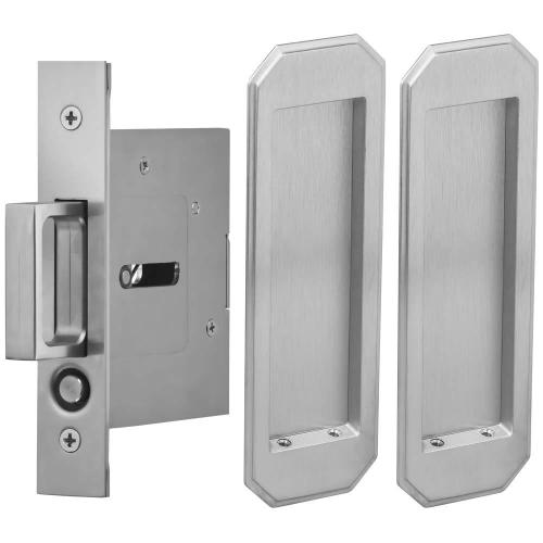 Passage Pocket Door Lock with Traditional Rectangular Trim featuring Mortise Edge Pull in (US26D Satin Chrome Plated)