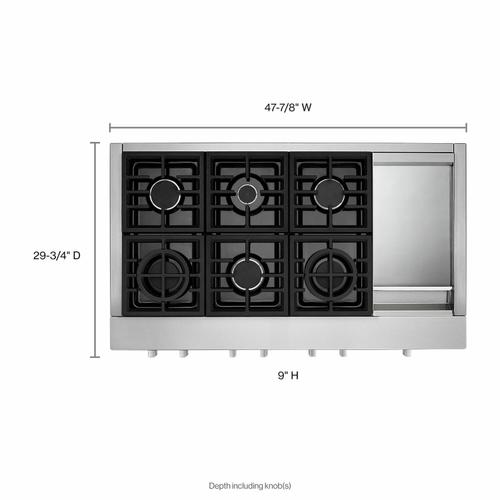 KitchenAid - KitchenAid® 48'' 6-Burner Commercial-Style Gas Rangetop with Griddle - Stainless Steel