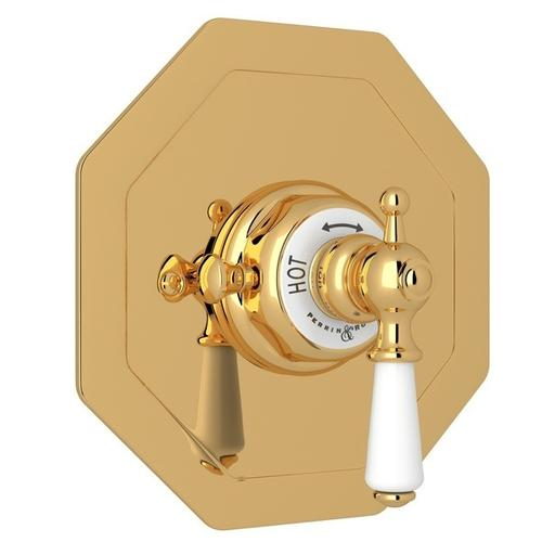 English Gold Perrin & Rowe Edwardian Octagonal Concealed Thermostatic Trim Without Volume Control with Edwardian Metal Lever