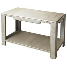 Product Image - The clean lines, the luster of rich leather, and the multitude of shimmering silver finished nailheads all come together ensure this impeccably crafted Console Table will be a splendid addition to an already well-furnished room. Expertly crafted from wood solids and wood products.