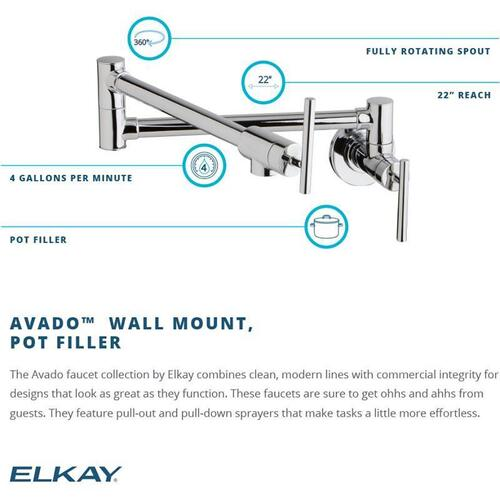 Elkay - Elkay Avado Wall Mount Single Hole Pot Filler Kitchen Faucet with Lever Handles Lustrous Steel