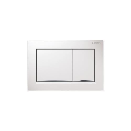 Omega30 Dual-flush plates for Omega series in-wall toilet systems White with polished chrome accent Finish