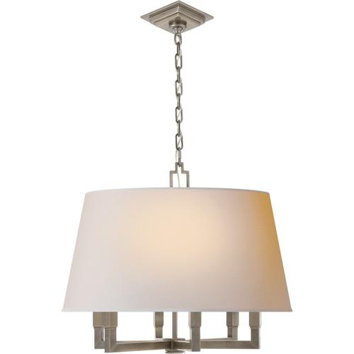 E. F. Chapman Square Tube 6 Light 24 inch Antique Nickel Hanging Shade Ceiling Light