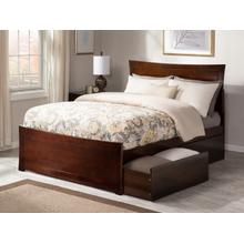 Metro Queen Bed with Matching Foot Board with 2 Urban Bed Drawers in Walnut