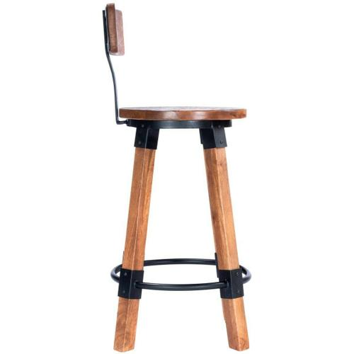 Add style to your space with this industrial inspired counter stool. The textured appearance compliments the mango wood and black iron accents. The built-in footrest and backrest offer an extra comfort to the sturdy design. Coordinating SKUs: 5478330, 5
