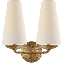 AERIN Fontaine 2 Light 13 inch Gilded Plaster Double Sconce Wall Light