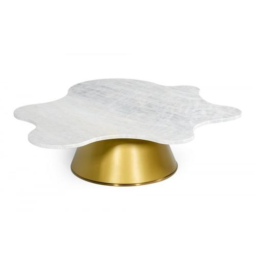 Gallery - Modrest Gabbro Low - Glam White Marble and Gold Coffee Table