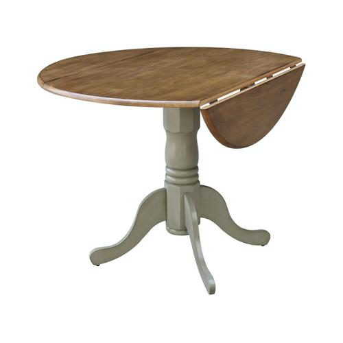 Product Image - Round Dropleaf Pedestal Table in Hickory Stone