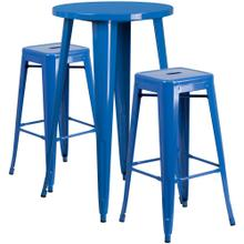 24'' Round Blue Metal Indoor-Outdoor Bar Table Set with 2 Square Seat Backless Stools