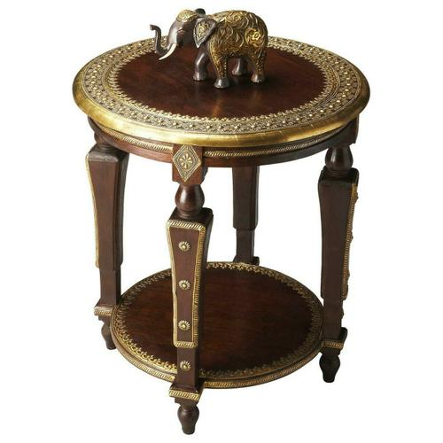 Butler Specialty Company - Meticulously crafted from exotic mango wood solids with a hand-applied brass foil top, this elegant table showcases old world flair with an international mystery. Metculous hand crafted detail on legs, top and shelf make this a truly one-of-a kind piece.