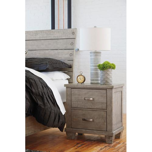 Naydell Two Drawer Night Stand Rustic Gray