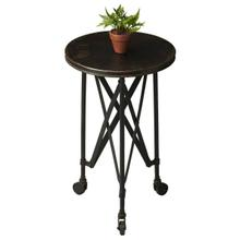 Crafted from iron and perched on rolling casters; this aged industrial-look accent table evokes the charm of a by-gone era. It features a distinctive interlaced base linking legs and tabletop.