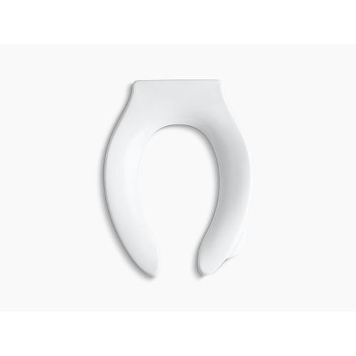 White Elongated Toilet Seat With Integrated Handle, Self-sustaining Check Hinge and Anti-microbial Agent