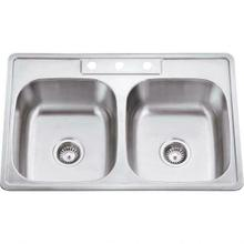"""See Details - 33"""" L x 22"""" W x 9"""" D Drop-In 20 Gauge Stainless Steel 50/50 Double Bowl Sink"""