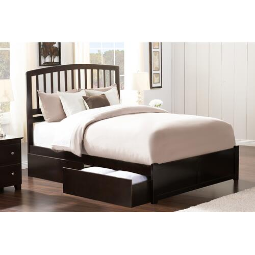 Atlantic Furniture - Richmond Queen Flat Panel Foot Board with 2 Urban Bed Drawers Espresso