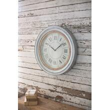 See Details - enamelware clock with wood detail
