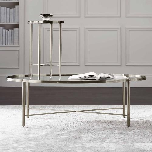 Allure Metal Chairside Table in Silver Mist (399)